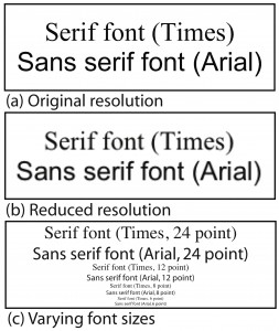 Comparison of serif and sans serif fonts